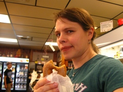 I wear my serious investigative-journalist face as I sample a maple doughnut. Other varieties, made fresh daily, included cinnamon, cider, honey-wheat, and, of course, the classics like chocolate glazed and vanilla. We sampled some in-store, then took some more samples home for further study.