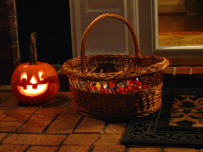 Jack-o'lantern, check. Candy basket, check. Now all we need are the trick-or-treaters.