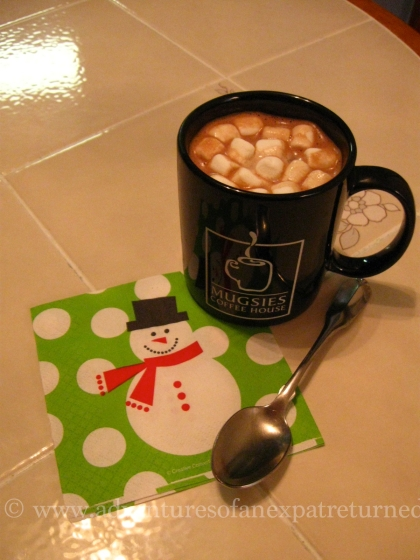 It's time to go inside for hot cocoa with marshmallows.