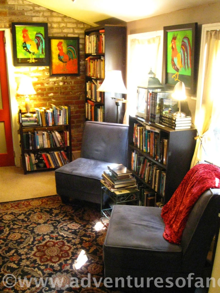 The smallest reading room at the Griffin looks more like a private sitting room than the back room of a coffee shop,