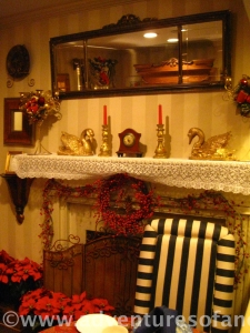 A festive mantel decked for the holiday shoppers