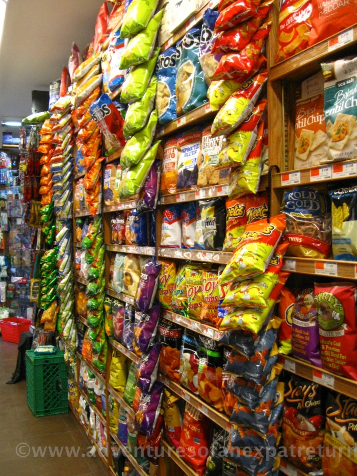 From yellow to blue, from salt-'n'-vinegar to Sriracha, this aisle had more colors and flavors of chips than I'd ever dreamed could exist